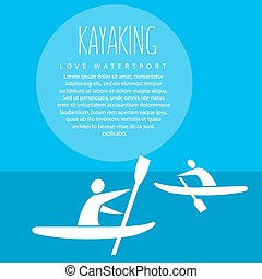 """vector illustration with signature """" kayaking love..."""