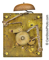 Inner workings of an old fashioned clock with bell isolated...