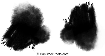 Grunge inkblot - drawing of inkblot in a white background