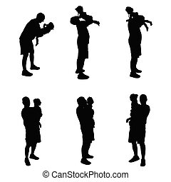 father with baby black vector silhouette