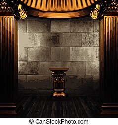 vector stone wall and golden columns