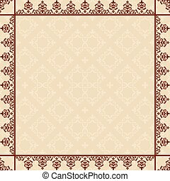 quadratic card with vintage frame - vector