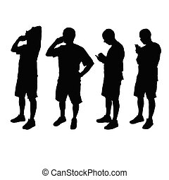 man with mobile phone black vector