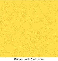 vector illustration of fruit hand drawn seamless pattern in flat linear design style