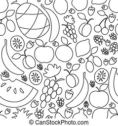 vector illustration of fruit hand drawn semless pattern in flat linear design style