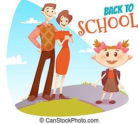 Back to school poster. Schoolgirl going in college