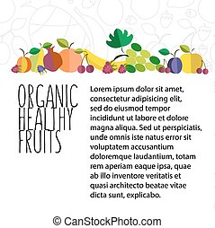 vector illustration of fruit hand drawn template in flat design style with text and signature on textured background
