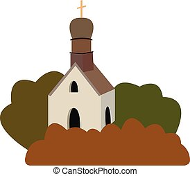 the vector illustration of an old medieval church in a flat design style