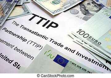 Word TTIP on a paper - Word TTIP on a paper with dollars and...