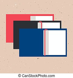 vector illustration of opened books in flat design style on textured background