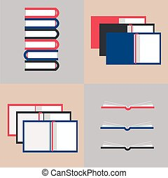 vector illustration of opened books in flat design style