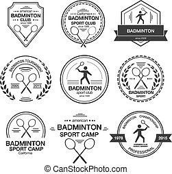 Set of different logotype templates for badminton.