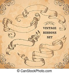 Vintage ribbons set.