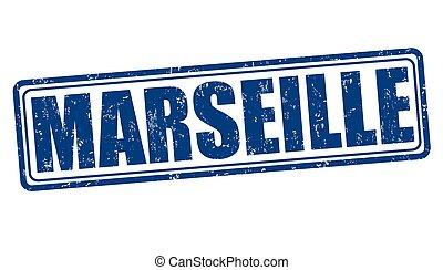 Marseille stamp - Marseille grunge rubber stamp on white...