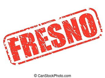 FRESNO red stamp text on white