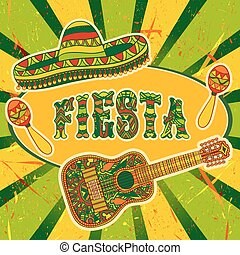 Mexican Fiesta Party Invitation with maracas, sombrero and...