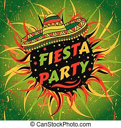 Mexican Fiesta Party label with sombrero and confetti .Hand...
