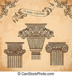 Print - antique and baroque classic style column vector set...