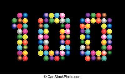 Hundred Balls Shiny Beads Number Black - Number 100...