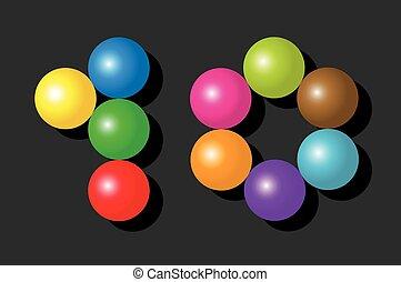 Ten Items Pieces Balls Colors Black - Number 10 consisting...