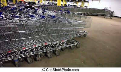 Shopping carts on parking 1920x1080