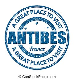 Antibes stamp - Antibes grunge rubber stamp on white...