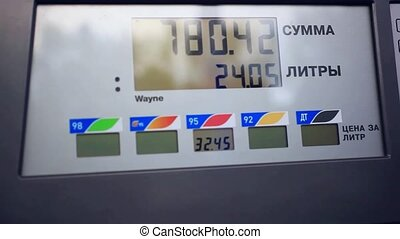 benzine meter car at gas russian station - benzine meter car...