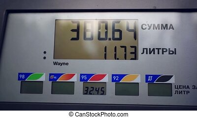 benzine meter car at gas russian station
