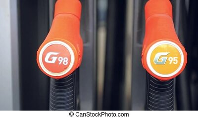 Gasoline pump nozzle at gas station HD 1920x1080