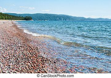 Agawa Bay Lake Superior Provincial Park - pebble beach at...