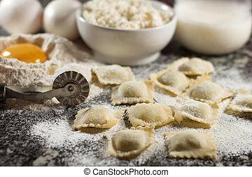 Ravioli Italian food with ricotta and eggs on granite...