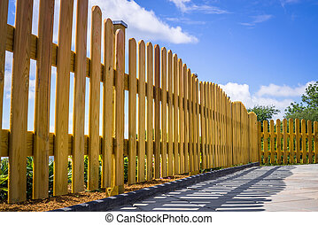 Fence on a terrace - Wooden fence on a residental terrace