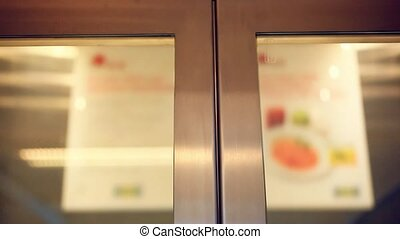 elevator doors open in supermarket lift HD 1920x1080