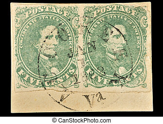 Authentic First Confederate stamps. Clipping Path. -...