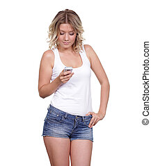 Young beautiful female reading on cell phone