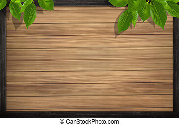 wood background and leaves - drawing of green leaves in a...