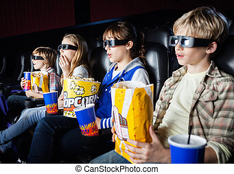 Shocked Siblings Watching 3D Movie In Theater - Shocked...