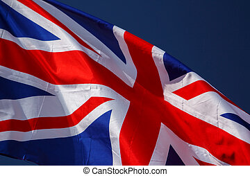 Great Britain Flag with wrinkles and seams expanded in the...