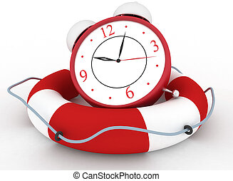 Alarm clock with Life Buoy - Concept of time to be Safe....