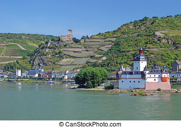 Kaub,Rhine River,Rheingau,Germany - Village of Kaub at Rhine...