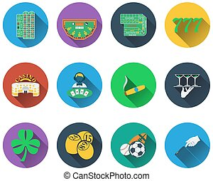 Set of gambling icons in flat design