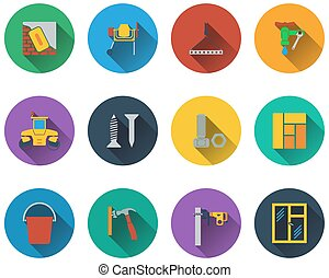 Set of construction icons in flat design