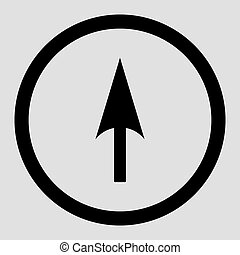 Arrow Axis Y flat black color rounded vector icon - Arrow...