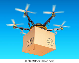 Drone express air delivery in sky, airmail concept. 3d...