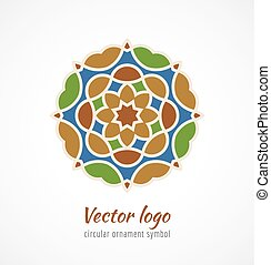 Abstract colorful asian ornament symbol logo