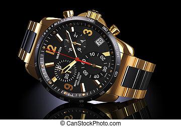 Golden wrist watch - Mens swiss mechanical golden wrist...