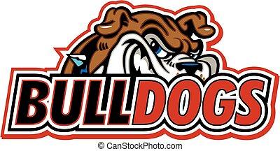 bulldogs design with bulldog mascot head in background