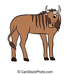Illustration of a wildebeest.