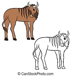 Illustration of a wildebeest. Coloring page.