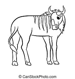 Illustration of wildebeest outlined - Illustration of a...